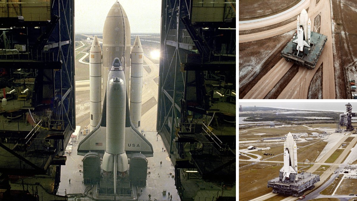 In December 1980, space shuttle Columbia, fully stacked with its external tank and solid rocket  ...