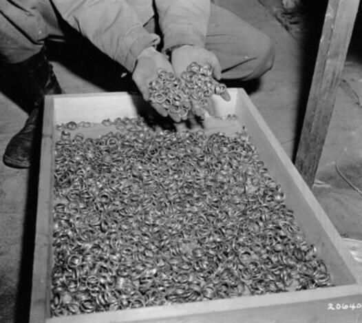 Wedding bands that were removed from Holocaust victims prior to being murdered, 1945.