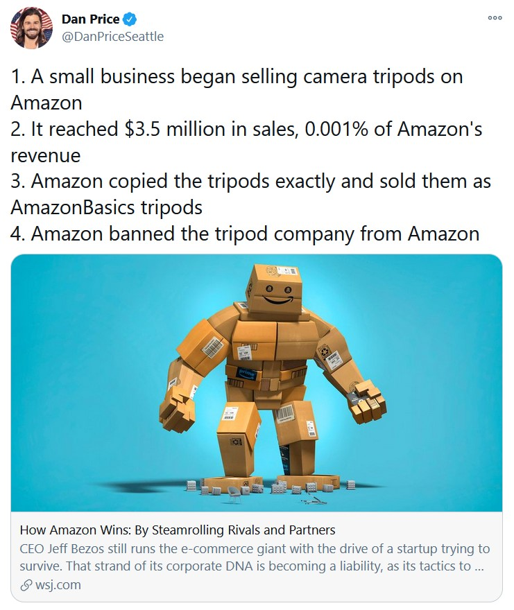 1. A small business began selling camera tripods on Amazon 2. It reached $3.5 million in sales,  ...