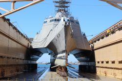 What The USS Montgomery (LCS-8), an Independence-class littoral combat ship, looks like underneath.