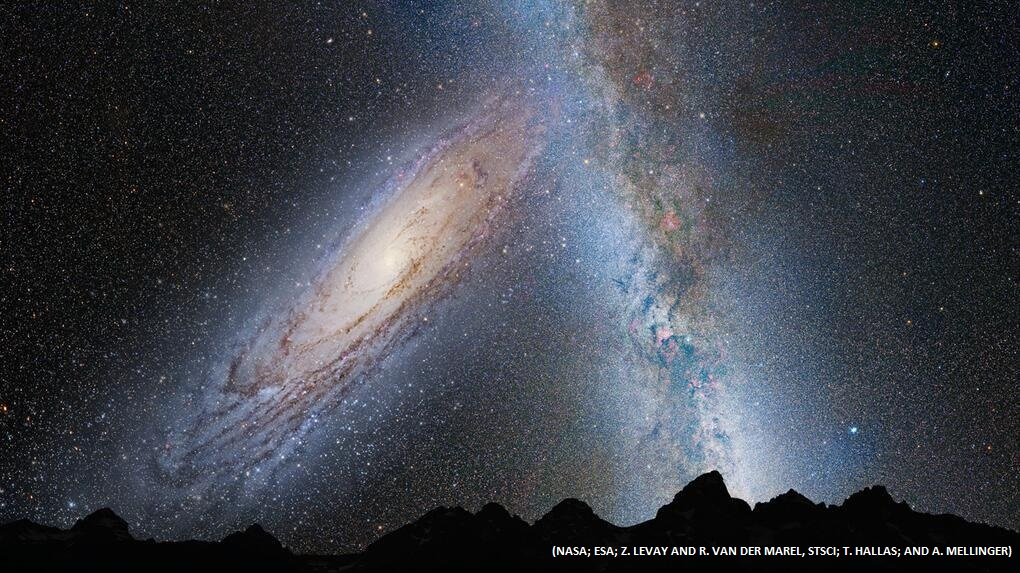 Staggering: Our night sky in 3 billion years, just before the merger between our Milky Way and t ...