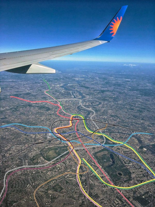 London tube map viewed from a plane