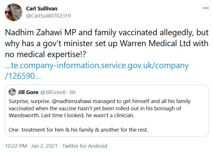 Nadhim Zahawi MP and family vaccinated allegedly, but why has a gov't minister set up Warr ...