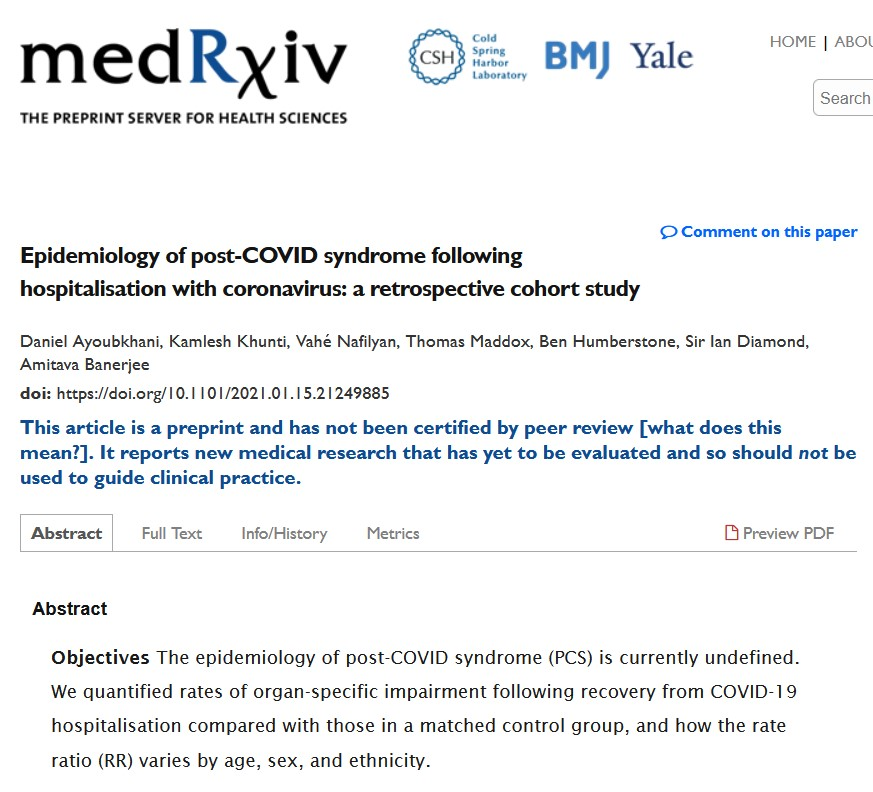 Epidemiology of post-COVID syndrome following hospitalisation with coronavirus: a retrospective  ...