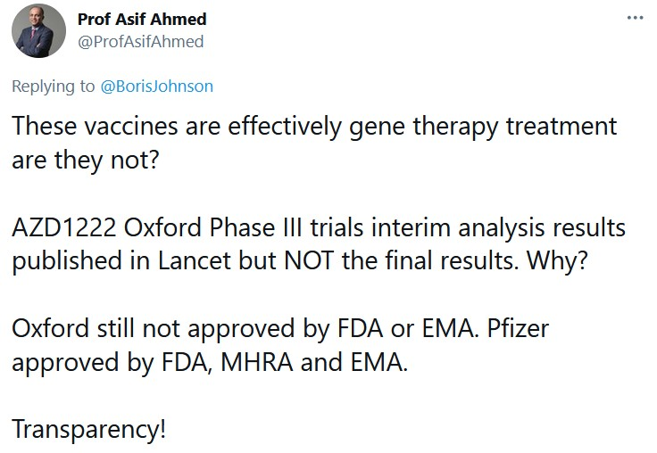 These vaccines are effectively gene therapy treatment are they not?
