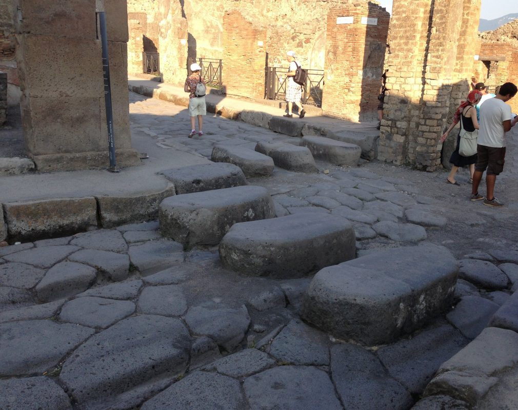 Pedestrian crossings at Pompeii   romans made them people wouldn't walk in the mud or in t ...