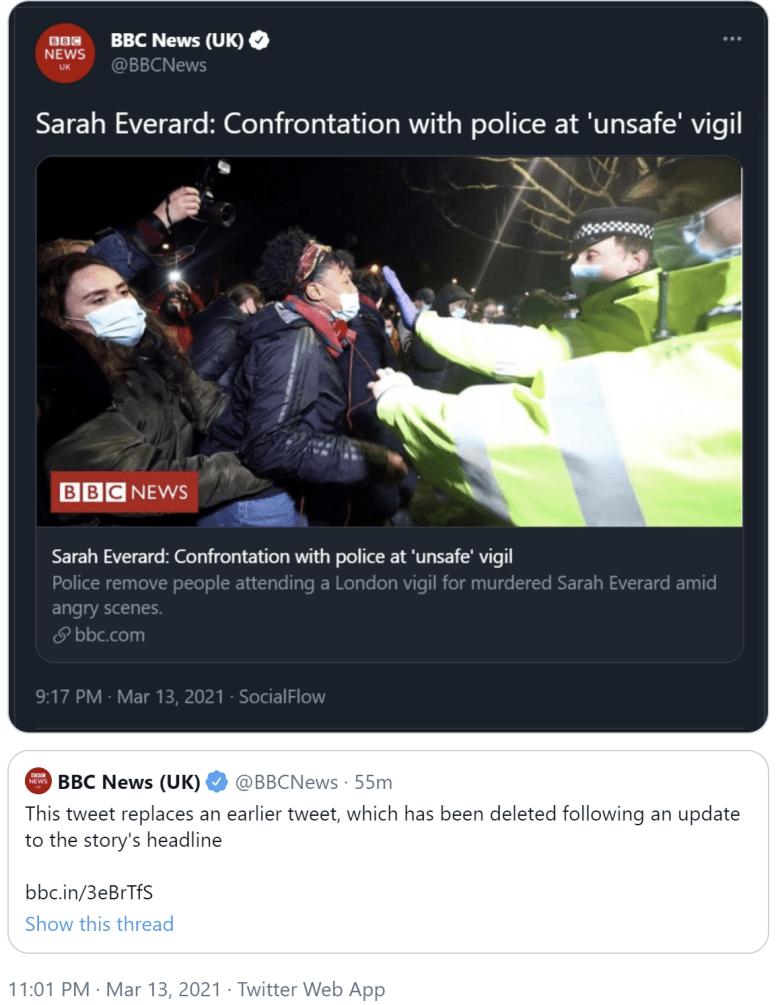 BBC deletes appalling tweet blaming Clapham Common vigil for police violence – SKWAWKBOX