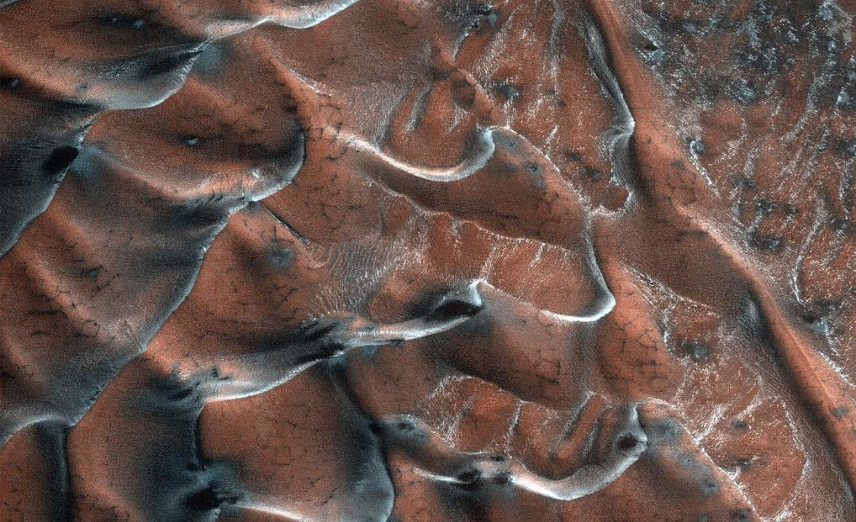 The frosty sand dunes of Mars.