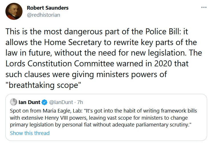This is the most dangerous part of the Police Bill: it allows the Home Secretary to rewrite key  ...