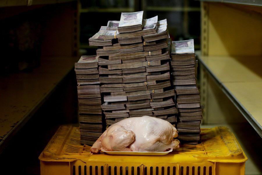 The amount of money you need to buy a 5 pound chicken in Venezuela. 14,600,000 bolivars  $8USD