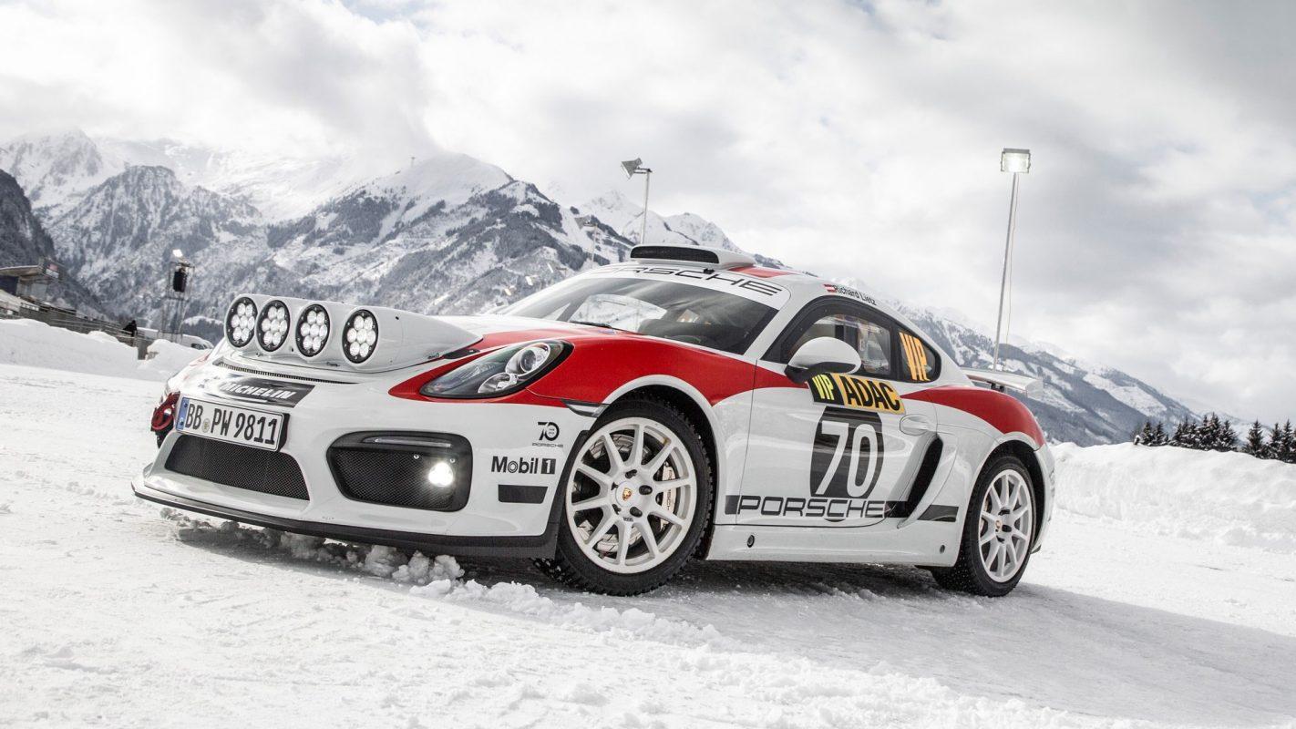 a Porsche 718 Cayman GT4 rally