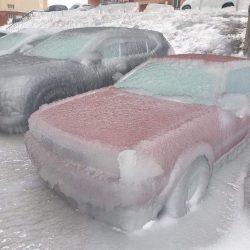 Cars after freezing rain in Vladivostok, Russia