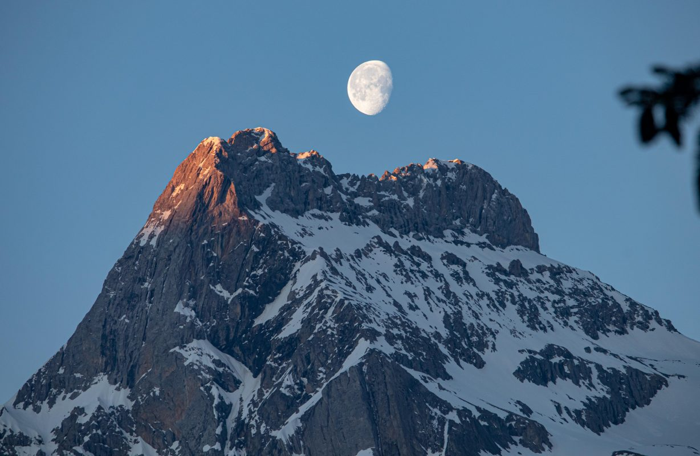First light and the moon – Ärmighorn, Switzerland