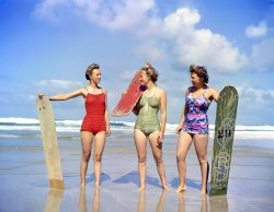 Newquay surfing 78 years ago: This fantastic photo of three British munitions workers taking a s ...