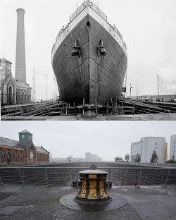Titanic dry dock 1912 and 2015