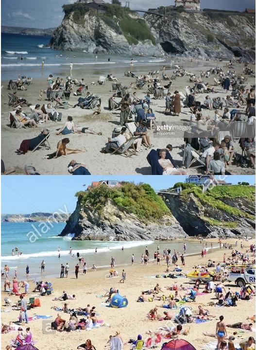 Towan Beach, Cornwall, England, September 1943 and June 2011
