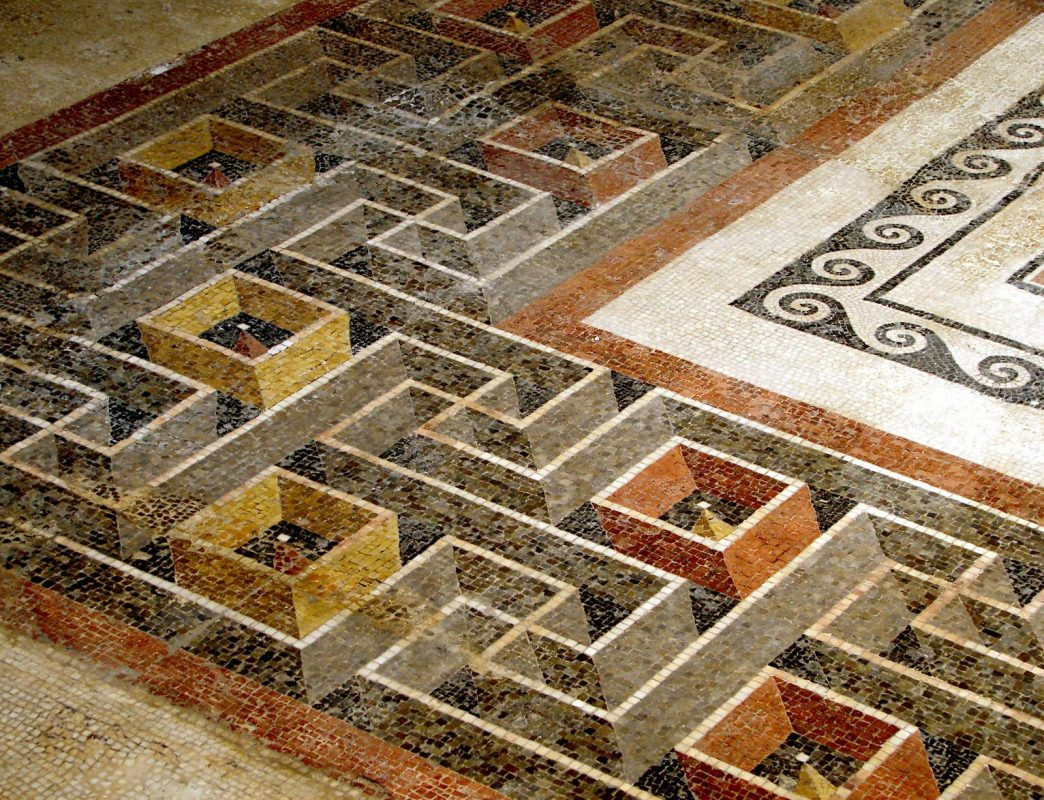 Detail of the Roman mosaic of the peristyle of the Domus Romana in Malta, showing its astounding ...