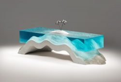 Glass and concrete coffee table