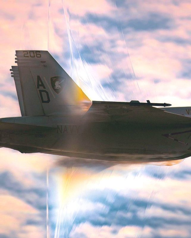 A F-18 breaking the sound barrier