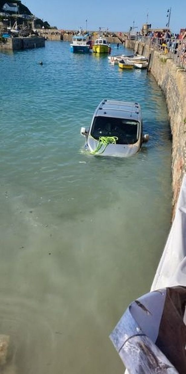 Tourist's van submerged in Newquay harbour