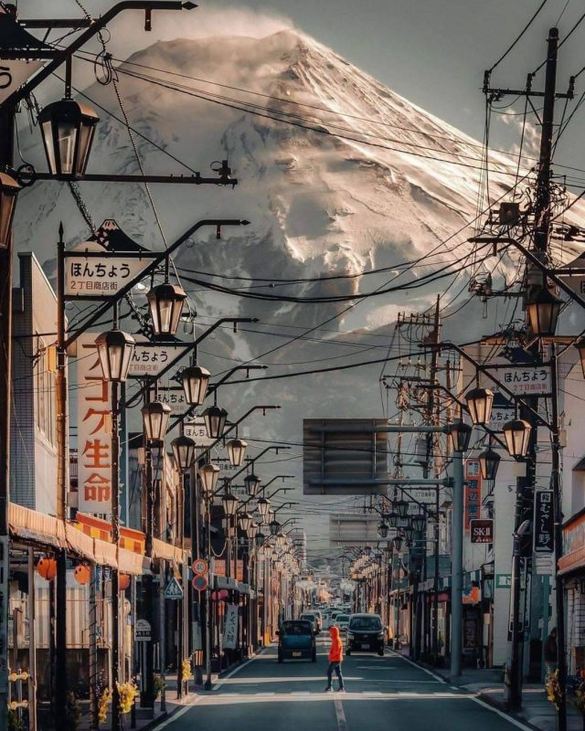 A view of Mt. Fuji from the streets of Fujinomiya, Japan